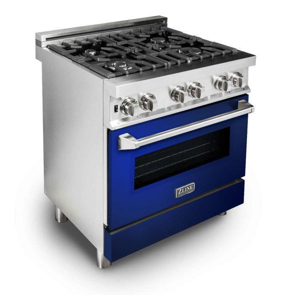 ZLINE 30 in. Professional Dual Fuel Range with Blue Gloss Door, RA-BG-30
