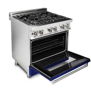 "ZLINE 30"" Professional Gas Burner/Electric Oven Stainless Steel Range with Blue Gloss Door, RA-BG-30 test"