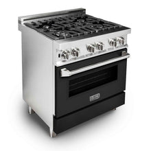 "ZLINE 30"" Professional Gas Burner/Electric Oven Stainless Steel Range with Black Matte Door, RA-BLM-30"