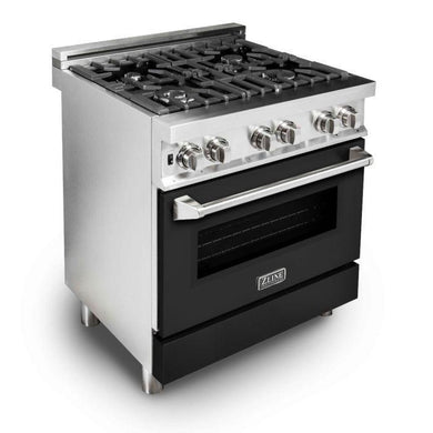 "ZLINE 30"" Professional Dual Fuel Range with Black Matte Door, RA-BLM-30"