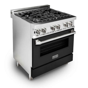 "ZLINE 30"" Professional Gas Burner/Electric Oven Stainless Steel Range with Black Matte Door, RA-BLM-30 test"