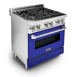 "ZLINE 30"" Professional Gas Burner/Electric Oven Stainless Steel Range with Blue Matte Door, RA-BM-30"