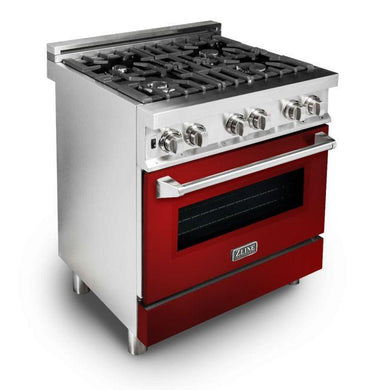 "ZLINE 30"" Professional Gas Burner/Electric Oven Stainless Steel Range with Red Gloss Door, RA-RG-30"