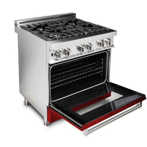 "ZLINE 30"" Professional Gas Burner/Electric Oven Stainless Steel Range with Red Gloss Door, RA-RG-30 test"