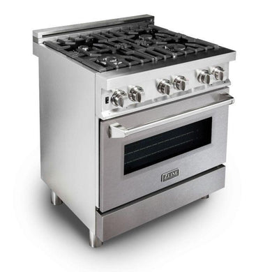 "ZLINE 30"" Professional Gas Burner/Electric Oven Stainless Steel Range with DuraSnow® Finish Door, RA-SN-30"
