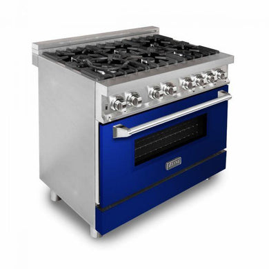 "ZLINE 36"" Stainless Steel Dual Fuel Range with Blue Gloss Door, RA-BG-36"