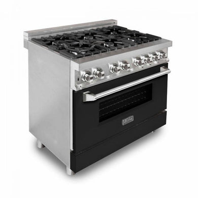 "ZLINE 36"" Professional Gas Burner/Electric Oven Stainless Steel Range with Black Matte Door, RA-BLM-36"