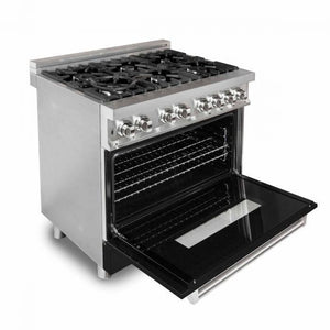"ZLINE 36"" Professional Gas Burner/Electric Oven Stainless Steel Range with Black Matte Door, RA-BLM-36 test"