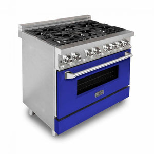"ZLINE 36"" Stainless Steel Dual Fuel Range with Blue Matte Door, RA-BM-36"