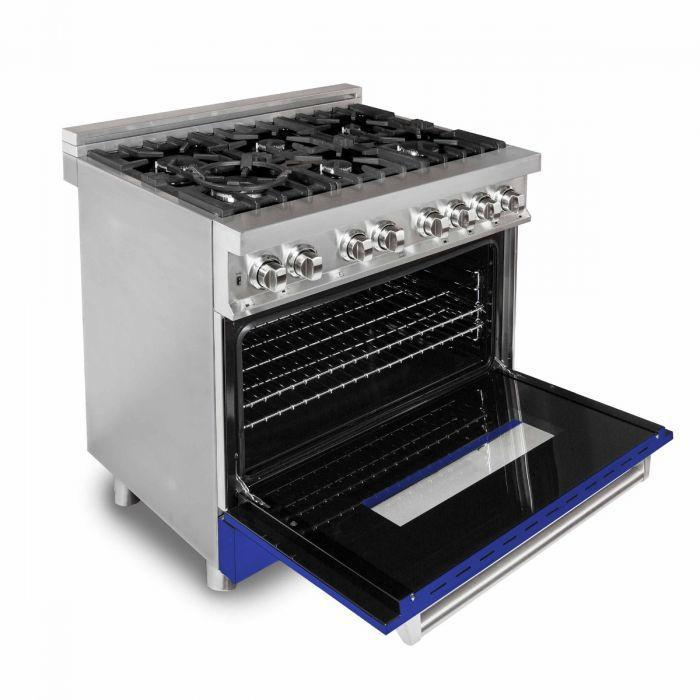 "ZLINE 36"" Professional Gas Burner/Electric Oven Stainless Steel Range with Blue Matte Door, RA-BM-36"