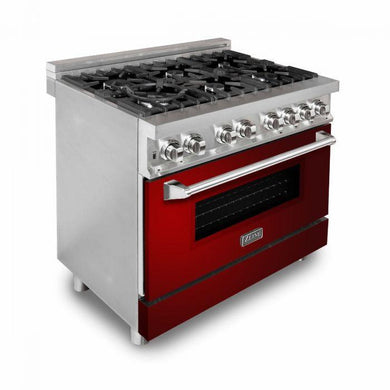"ZLINE 36"" Professional Gas Burner/Electric Oven Stainless Steel Range with Red Gloss Door, RA-RG-36"