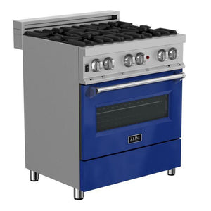 "ZLINE 30"" Professional Dual Fuel Range in Snow Stainless with Blue Gloss Door, RAS-BG-30"