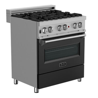 "ZLINE 30"" Professional Dual Fuel Range in Snow Stainless with Black Matte Door, RAS-BLM-30"