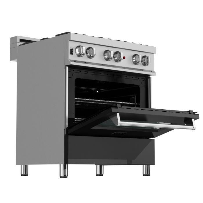 "ZLINE 30"" Professional Gas Burner/Electric Oven in DuraSnow® Stainless with Black Matte Door, RAS-BLM-30"