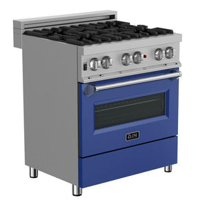 "ZLINE 30"" Professional Gas Burner/Electric Oven in DuraSnow® Stainless with Blue Matte Door, RAS-BM-30"