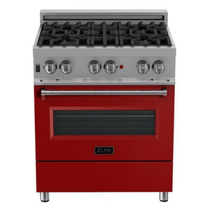 "ZLINE 30"" Professional Gas Burner/Electric Oven in DuraSnow® Stainless with Red Gloss Door, RAS-RG-30 test"