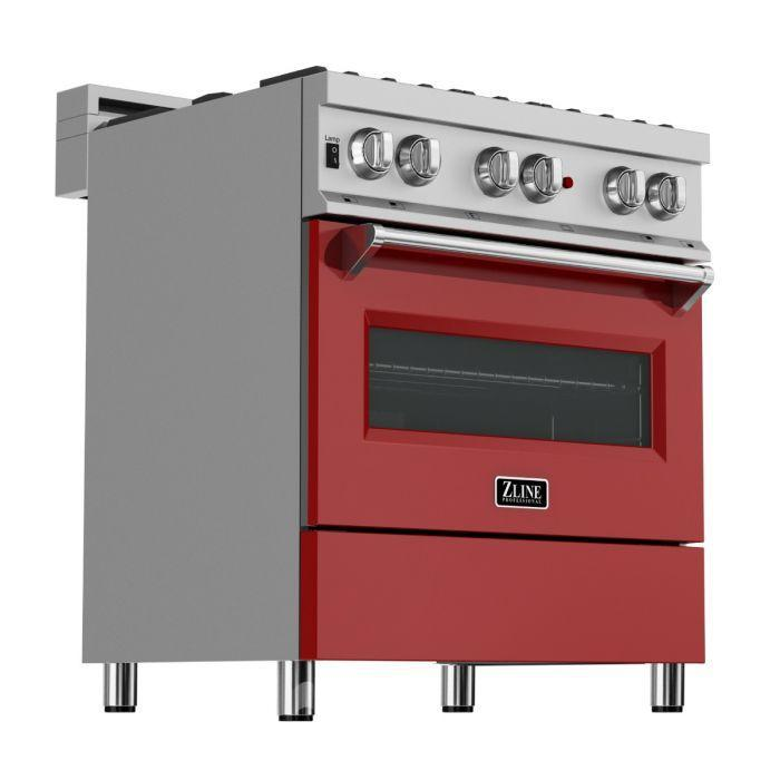 "ZLINE 30"" Professional Gas Burner/Electric Oven in DuraSnow® Stainless with Red Gloss Door, RAS-RG-30"