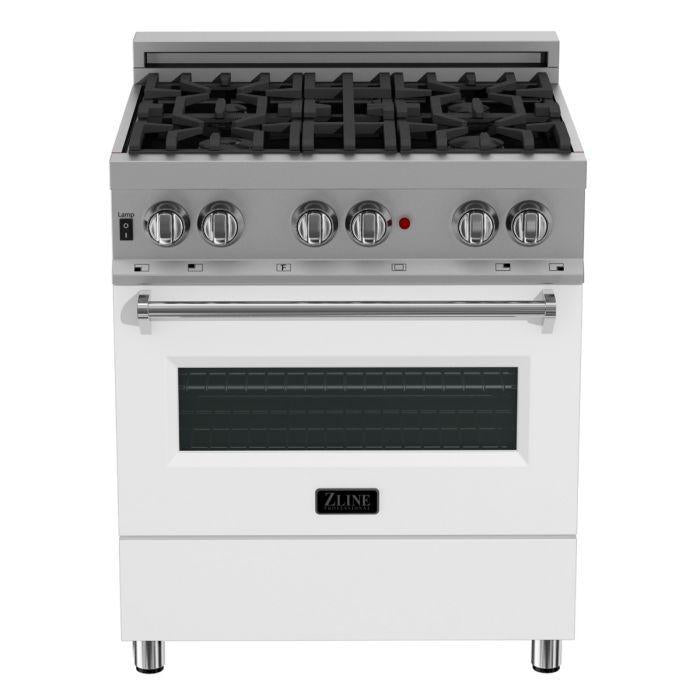 "ZLINE 30"" Professional Gas Burner/Electric Oven in DuraSnow® Stainless with White Matte Door, RAS-WM-30"