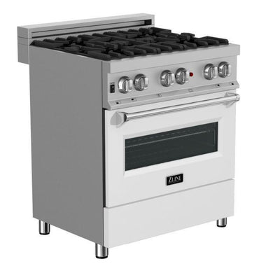 "ZLINE 30"" Professional Dual Fuel Range in Snow Stainless with White Matte Door, RAS-WM-30"
