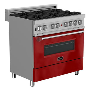 "ZLINE 36"" DuraSnow® Stainless Dual Fuel Range with Red Gloss Door, RAS-RG-36"