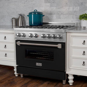 "ZLINE 36"" Professional Gas Burner/Electric Oven in DuraSnow® Stainless with Black Matte Door, RAS-BLM-36 test"