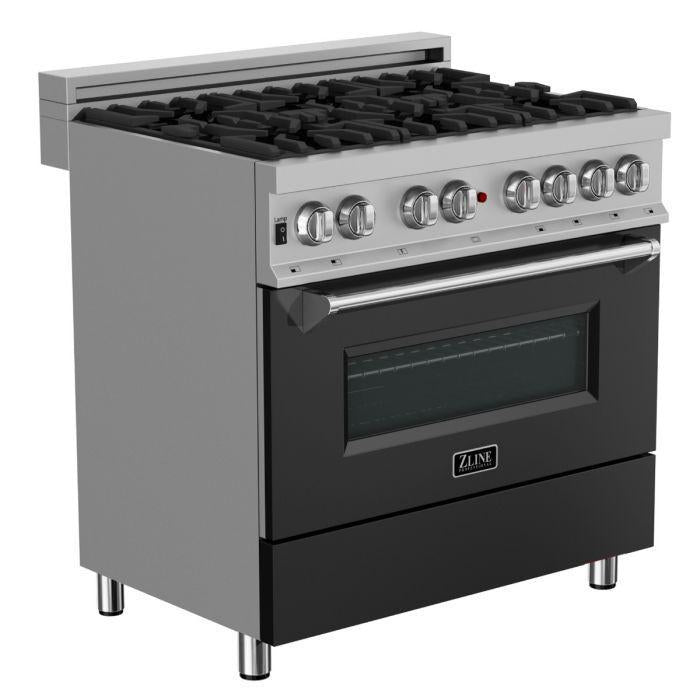 "ZLINE 36"" Professional Gas Burner/Electric Oven in DuraSnow® Stainless with Black Matte Door, RAS-BLM-36"