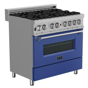 "ZLINE 36"" Snow Stainless Dual Fuel Range with Blue Matte Door, RAS-BM-36"