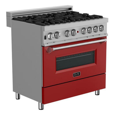 "ZLINE 36"" Professional Gas Burner/Electric Oven in DuraSnow® Stainless with Red Matte Door, RAS-RM-36"