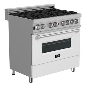 "ZLINE 36"" Professional Dual Fuel Range in Snow Stainless with White Matte Door, RAS-WM-36"