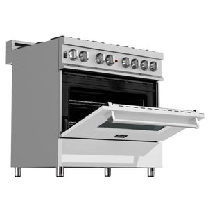 "ZLINE 36"" Professional Gas Burner/Electric Oven in DuraSnow® Stainless with White Matte Door, RAS-WM-36 test"