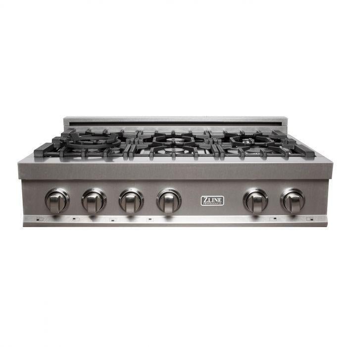 ZLINE 36 in. Rangetop in DuraSnow® Stainless Steel with 6 Gas Burners, RTS-36