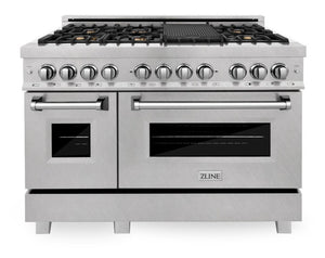 "ZLINE 48"" Professional Gas Burner/Electric Oven in DuraSnow® Stainless Steel with Brass Burners, RAS-SN-BR-48"