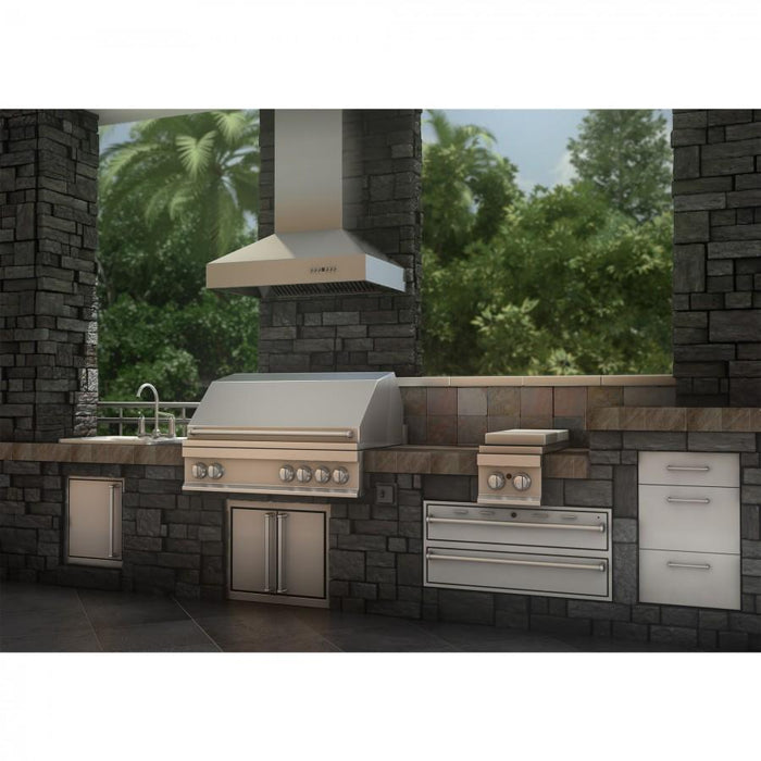 "ZLINE 42"" Ducted Wall Mount Range Hood in Outdoor Approved Stainless Steel, 697-304-42"