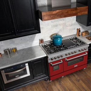 ZLINE 48 in. Professional Dual Fuel Range in Snow Stainless with Red Matte Door, RAS-RM-48 test