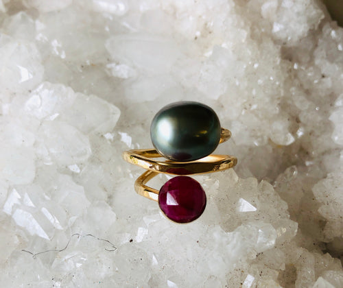 Tahitian Pearl and Ruby Wrap Ring