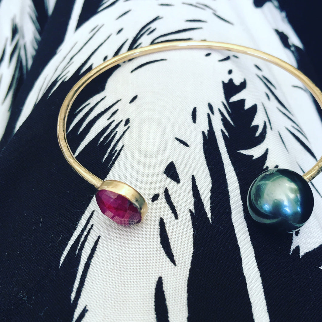 Ruby and Tahitian Pearl Cuff