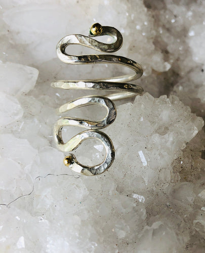 Sterling Silver Wrap Ring with 18K Gold Beads