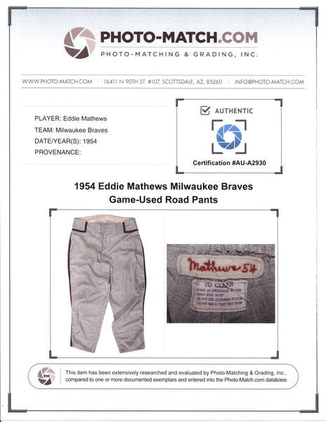 Eddie Mathews 1954 Milwaukee Braves Game Worn Pants Mystery Swatch Box