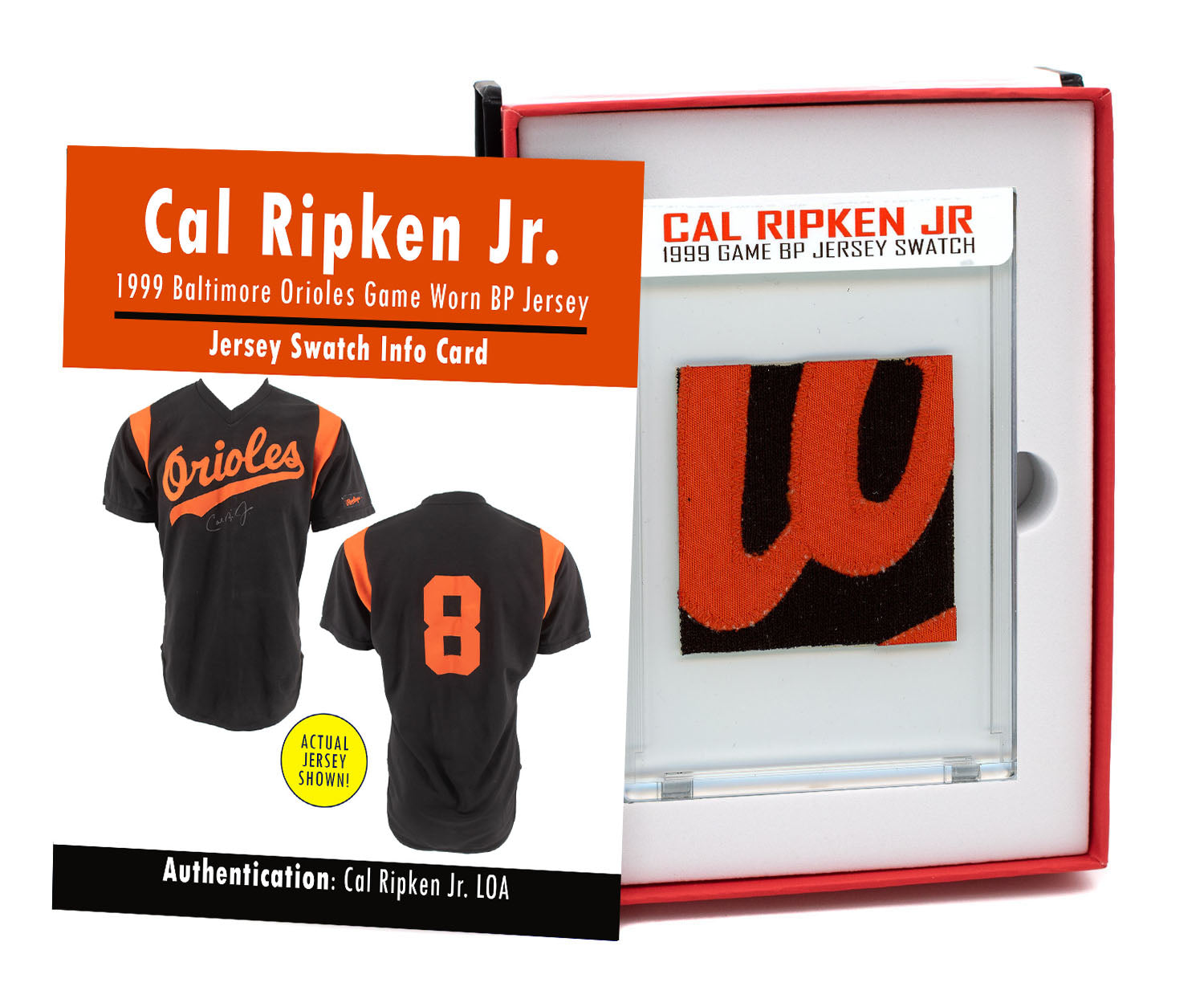 CAL RIPKEN JR 1999 ORIOLES GAME WORN BP JERSEY MYSTERY SEALED SWATCH BOX!