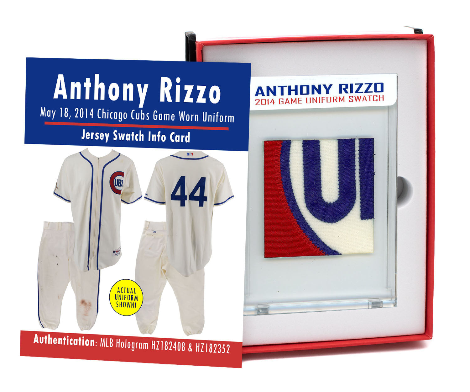 ANTHONY RIZZO 2014 CUBS GAME WORN JERSEY MYSTERY SWATCH BOX!