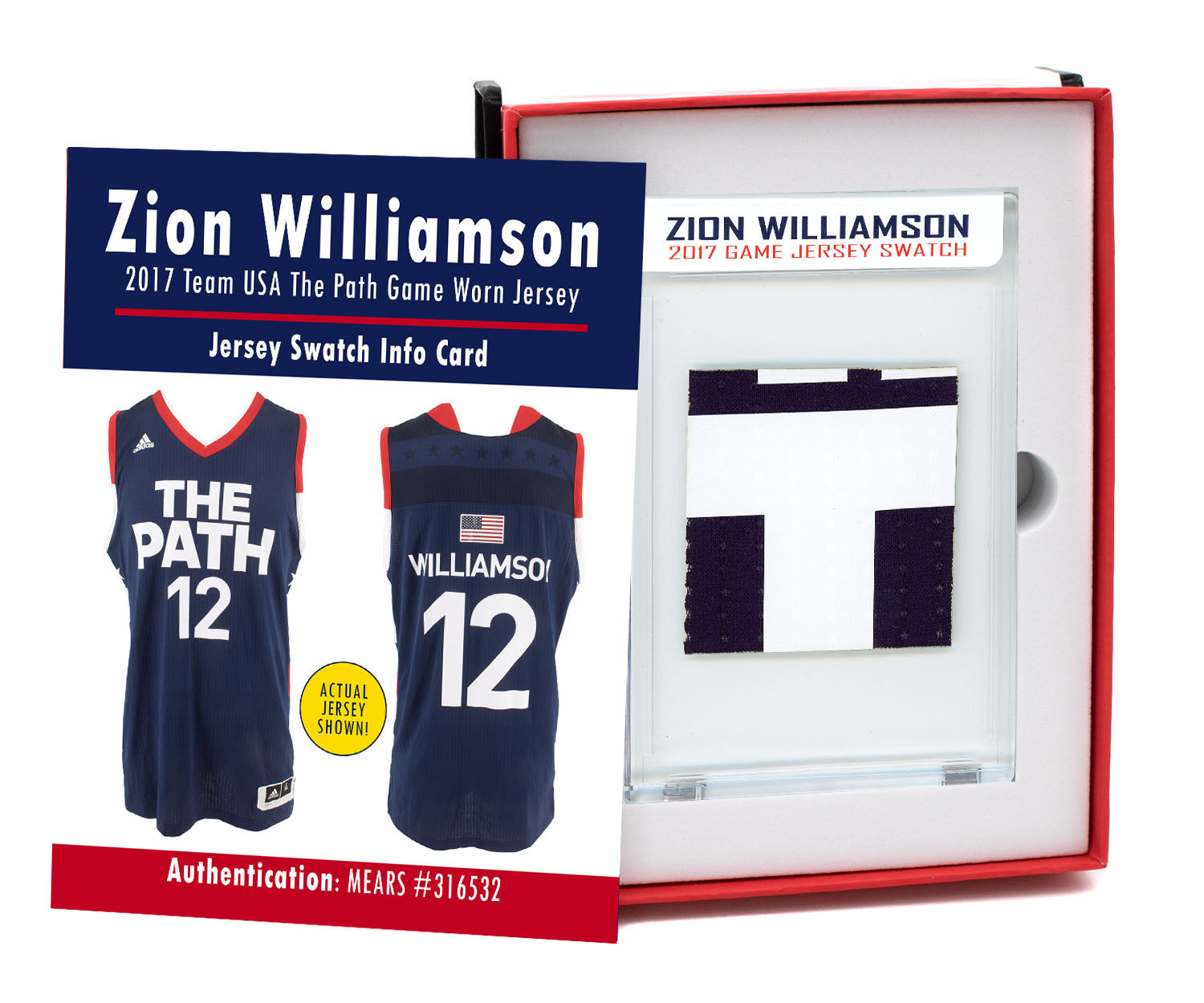 ZION WILLIAMSON 2017 USA THE PATH GAME WORN JERSEY MYSTERY SEALED SWATCH BOX!