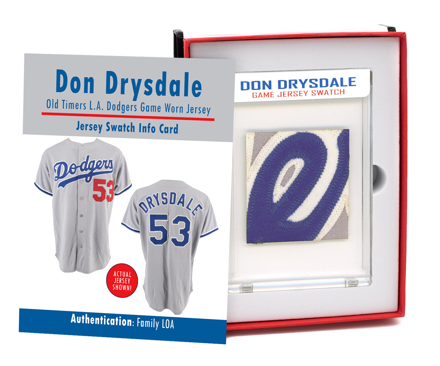 DON DRYSDALE OLD TIMERS DODGERS GAME WORN JERSEY MYSTERY SEALED SWATCH BOX!