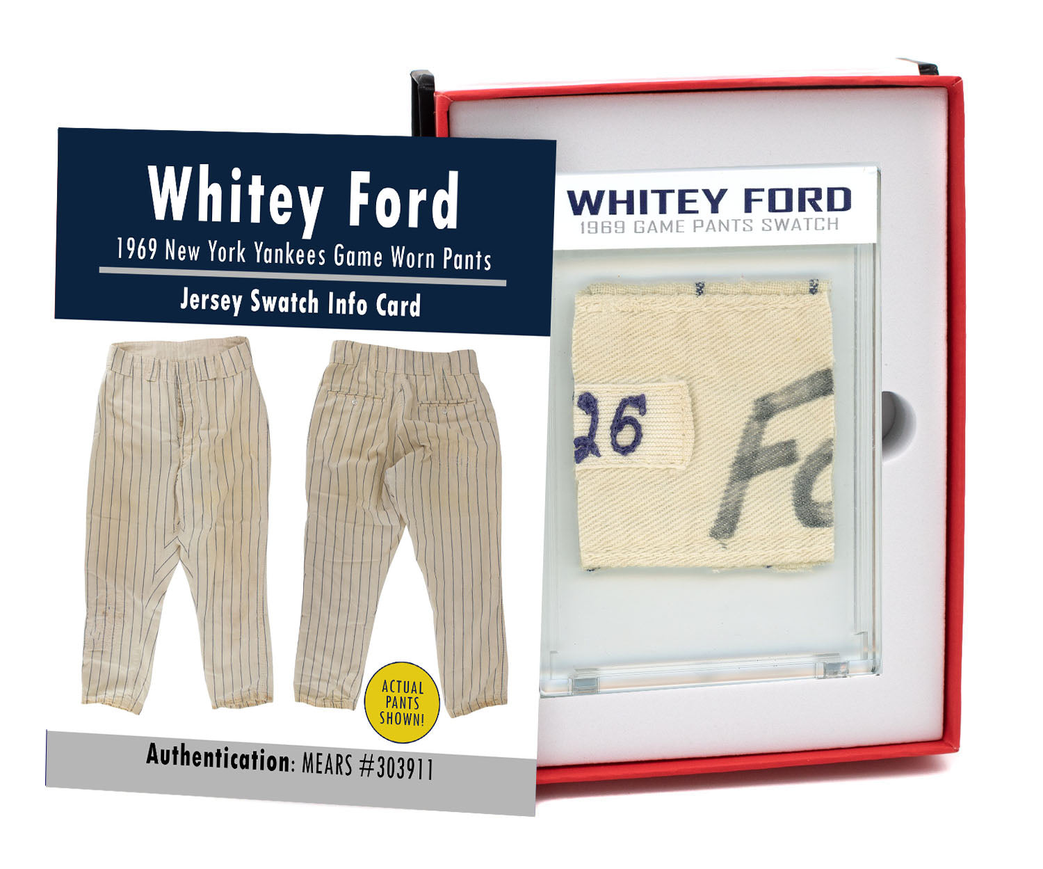 WHITEY FORD 1969 NY YANKEES GAME WORN PANTS MYSTERY SWATCH BOX!