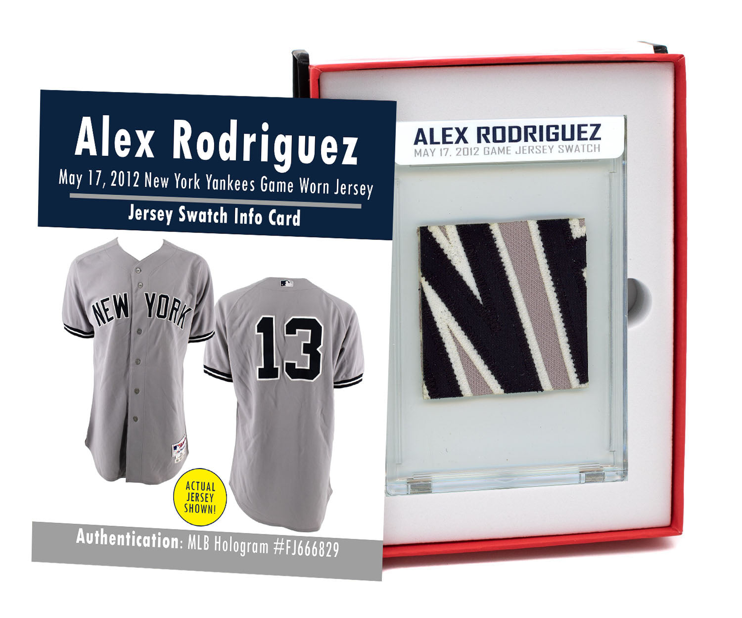 ALEX RODRIGUEZ 2012 NY YANKEES GAME WORN JERSEY MYSTERY SWATCH BOX!