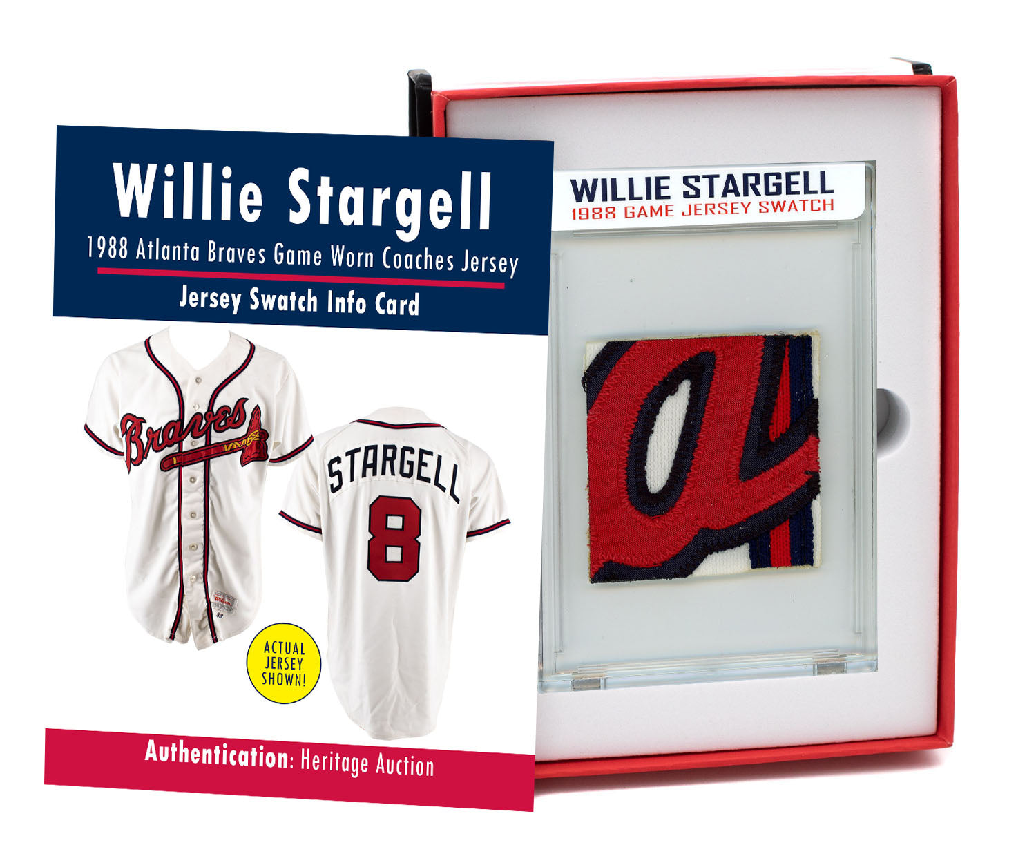 WILLIE STARGELL 1988 BRAVES GAME WORN COACHES JERSEY MYSTERY SEALED SWATCH BOX!
