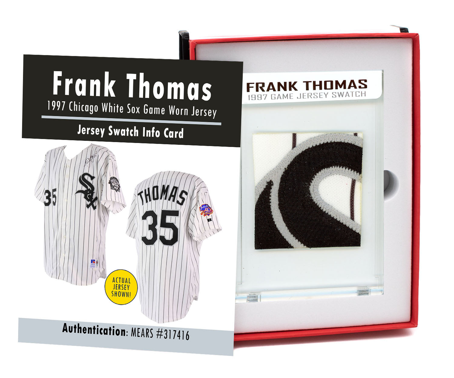 FRANK THOMAS 1997 WHITE SOX GAME WORN JERSEY MYSTERY SWATCH BOX!