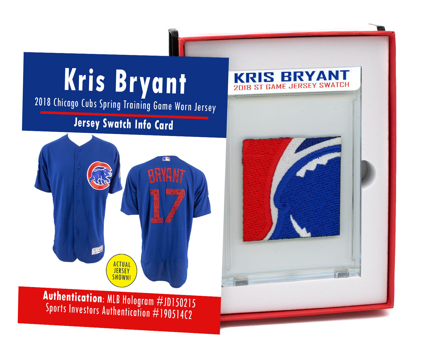 KRIS BRYANT 2018 CUBS SPRING TRAINING GAME WORN JERSEY MYSTERY SEALED SWATCH BOX!
