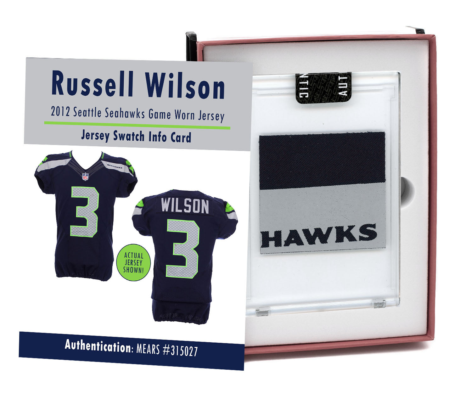 Russell Wilson 2012 Seattle Seahawks Game Worn Jersey Mystery Sealed Swatch Box