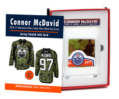 Connor McDavid 2016-17 Edmonton Oilers Game Worn Jersey Mystery Swatch Box