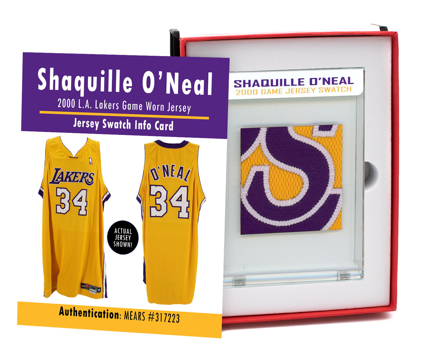 SHAQUILLE O'NEAL 2000 LAKERS GAME WORN JERSEY MYSTERY SEALED SWATCH BOX!